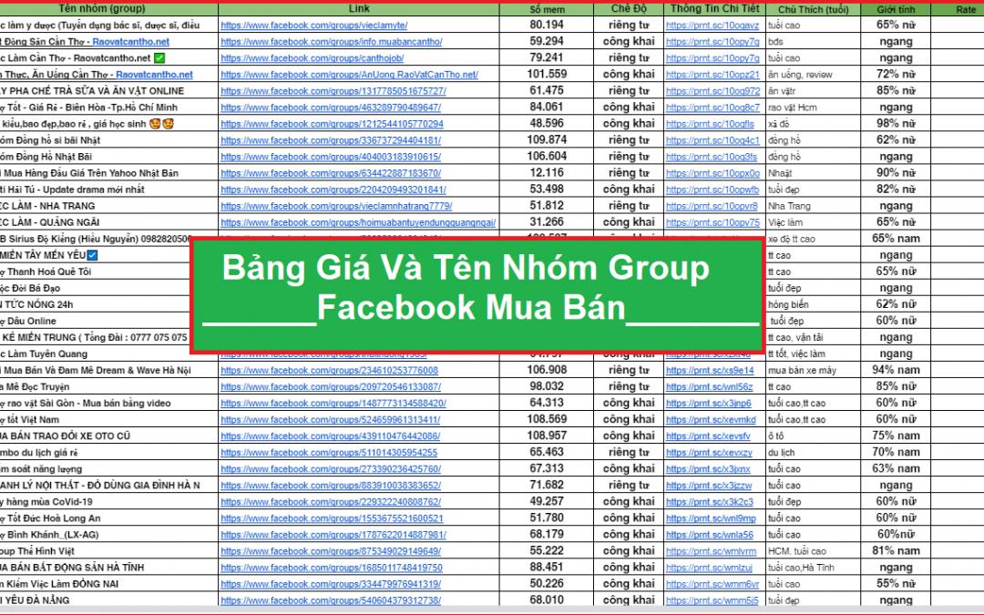 Bảng Giá Mua Bán Group nhóm Facebook Rẻ An Toàn