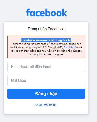 Facebook sẽ sớm hoạt động trở lại, ngừng hoạt động để bảo trì bây giờ