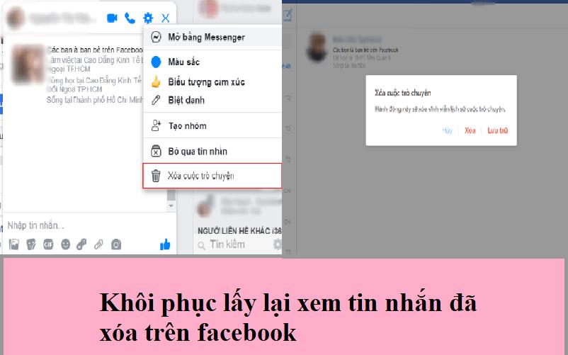 Khôi phục lấy lại xem tin nhắn đã xóa trên facebook