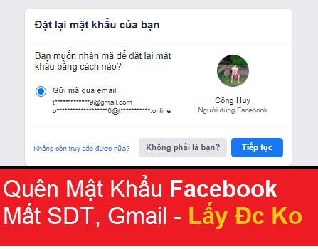 Quên mật khẩu facebook mất gmail số điện thoại không gửi mã