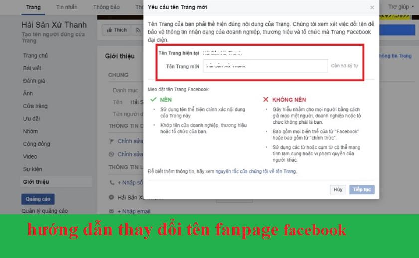 hướng dẫn thay đổi tên page cho fb