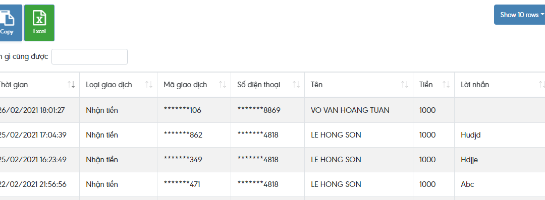 Code API MOMO Gốc check lịch sự giao dịch thanh toán