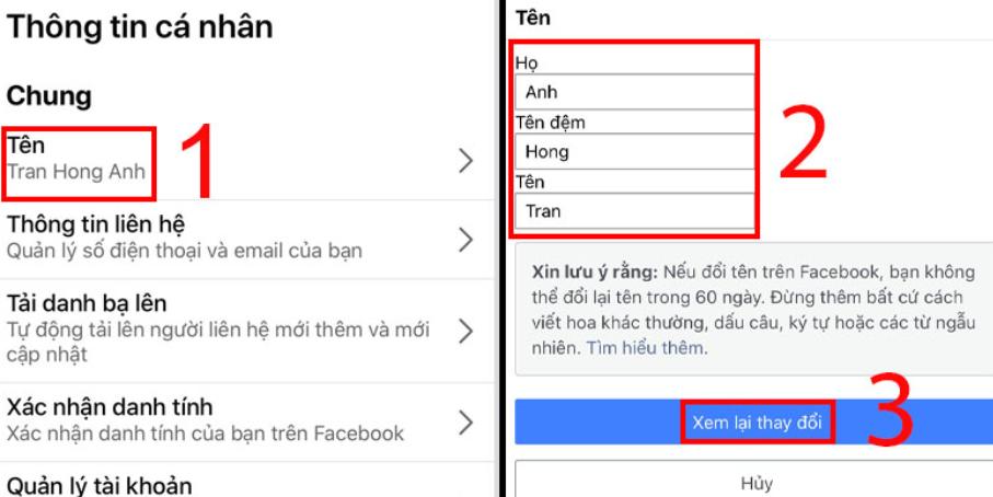 đổi tên cá nhân facebook