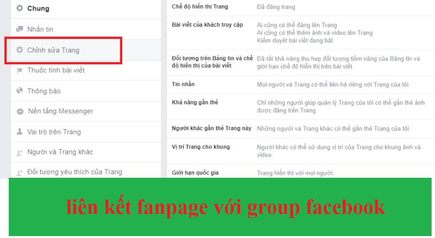 liên kết nhóm và trang facebook