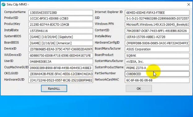 Crack Tool ChangeInfoPC tự động đổi Mac, card mạng, Ram, ổ cứng máy tính