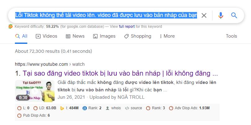 Lỗi Tiktok Lỗi Tiktok không thể tải video lên. video đã được lưu vào bản nháp của bạn
