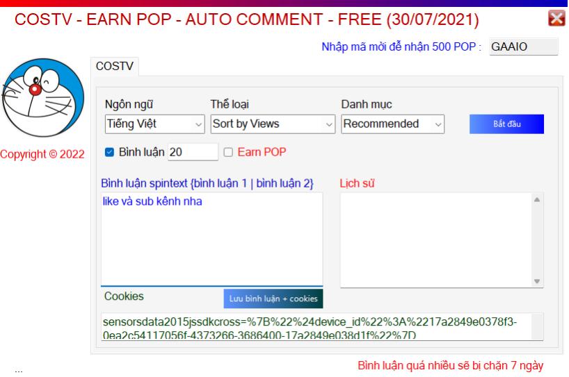 Hack tăng điểm kiếm tiền CosTV Auto Comment Tương Tác Trên Costv