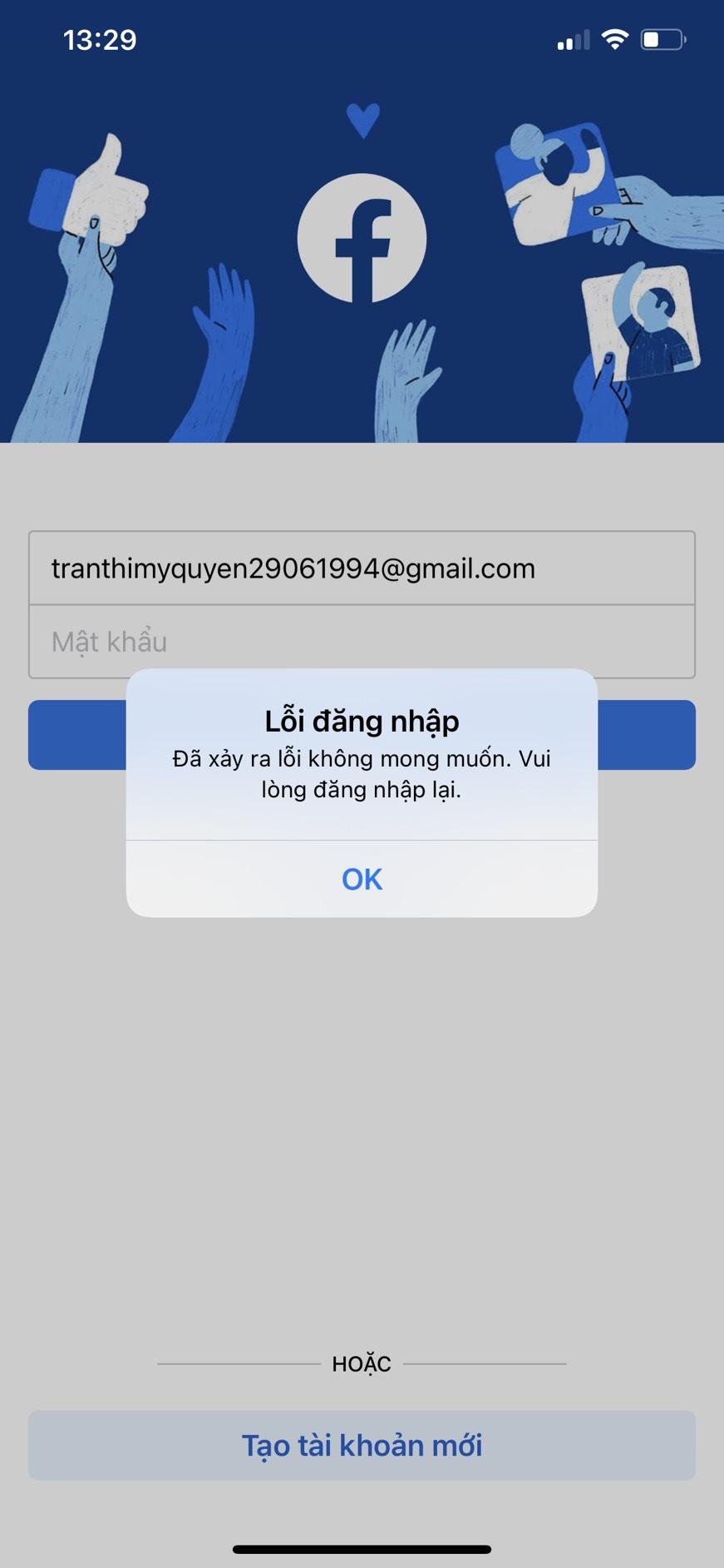 Facebook lỗi đăng nhập đã xảy ra lỗi không mong muốn. vui lòng đăng nhập lại