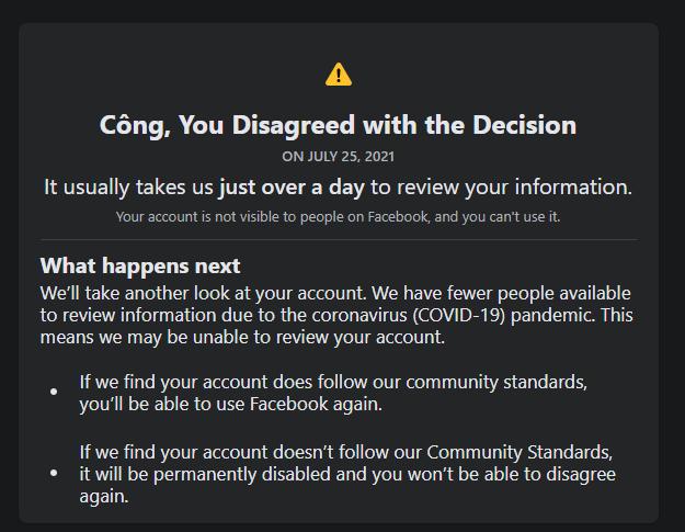 """Facebook thông báo """" ơi, bạn đã không tán thành với quyết định """""""